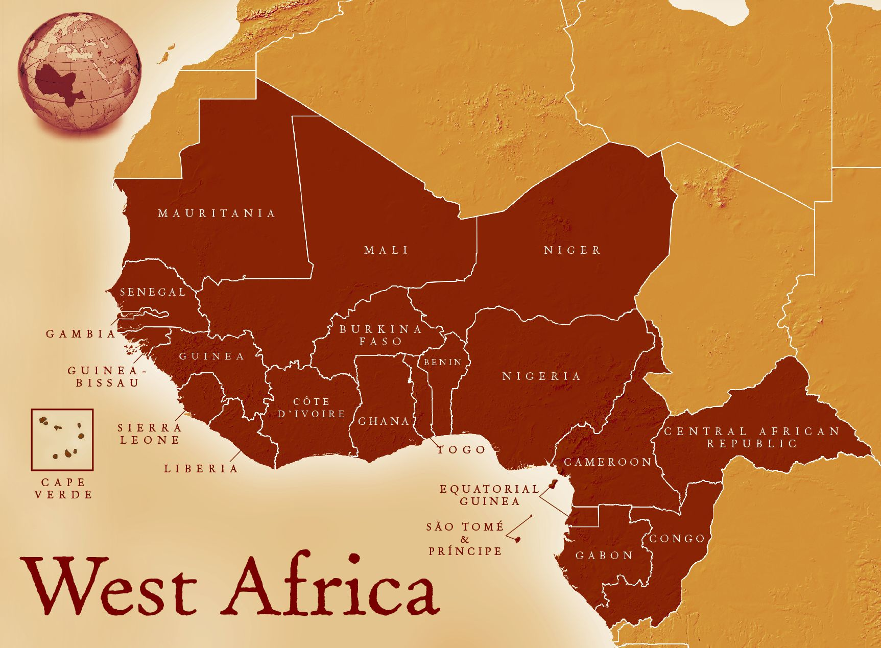 Countries Of West Africa Map.Map Of West Africa West Africa West African Countries Africa