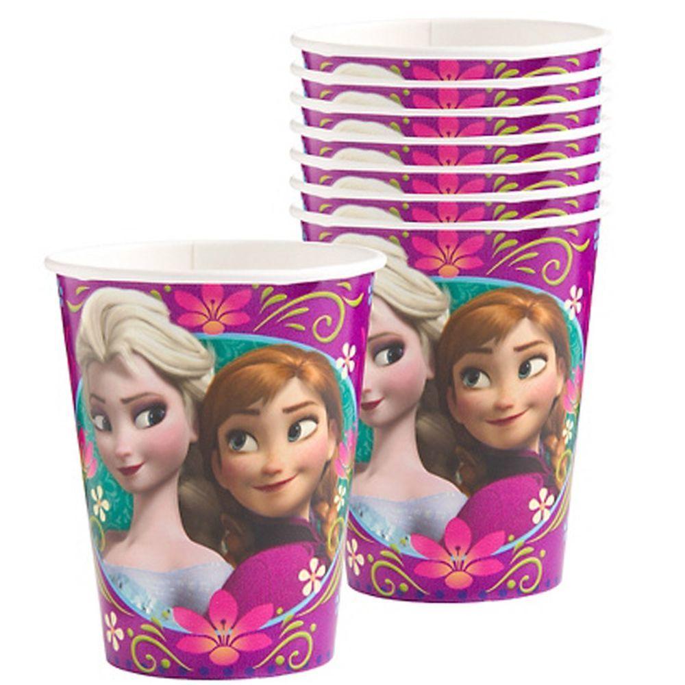 8 Disney Frozen Snow Queen Party Supplies Disposable 9oz Paper