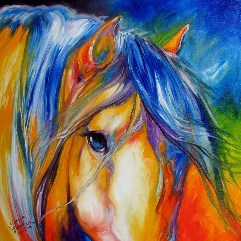 American Art Moves!: MUSTANG LEGEND ORIGINAL OIL PAINTING EQUINE HORSES ART by MARCIA BALDWIN