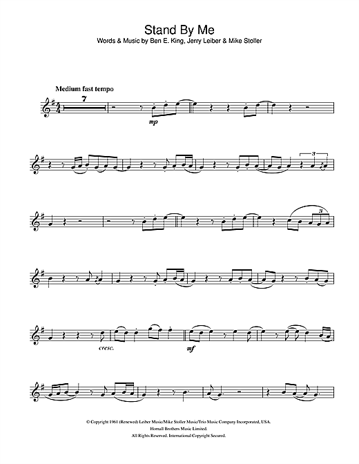 Ben E King Stand By Me Sheet Music Notes Chords Download