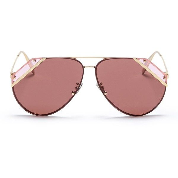 79f046f532e4d Alexander McQueen Cutout corner metal aviator sunglasses ( 354) ❤ liked on  Polyvore featuring accessories