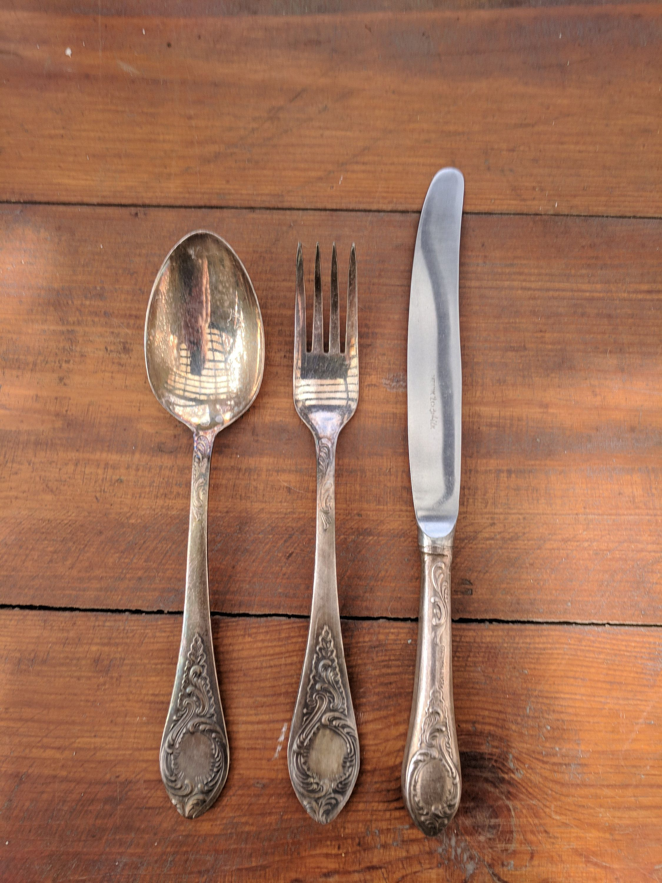 Fork Spoon Knife Set Ornate Place Setting Mid Century