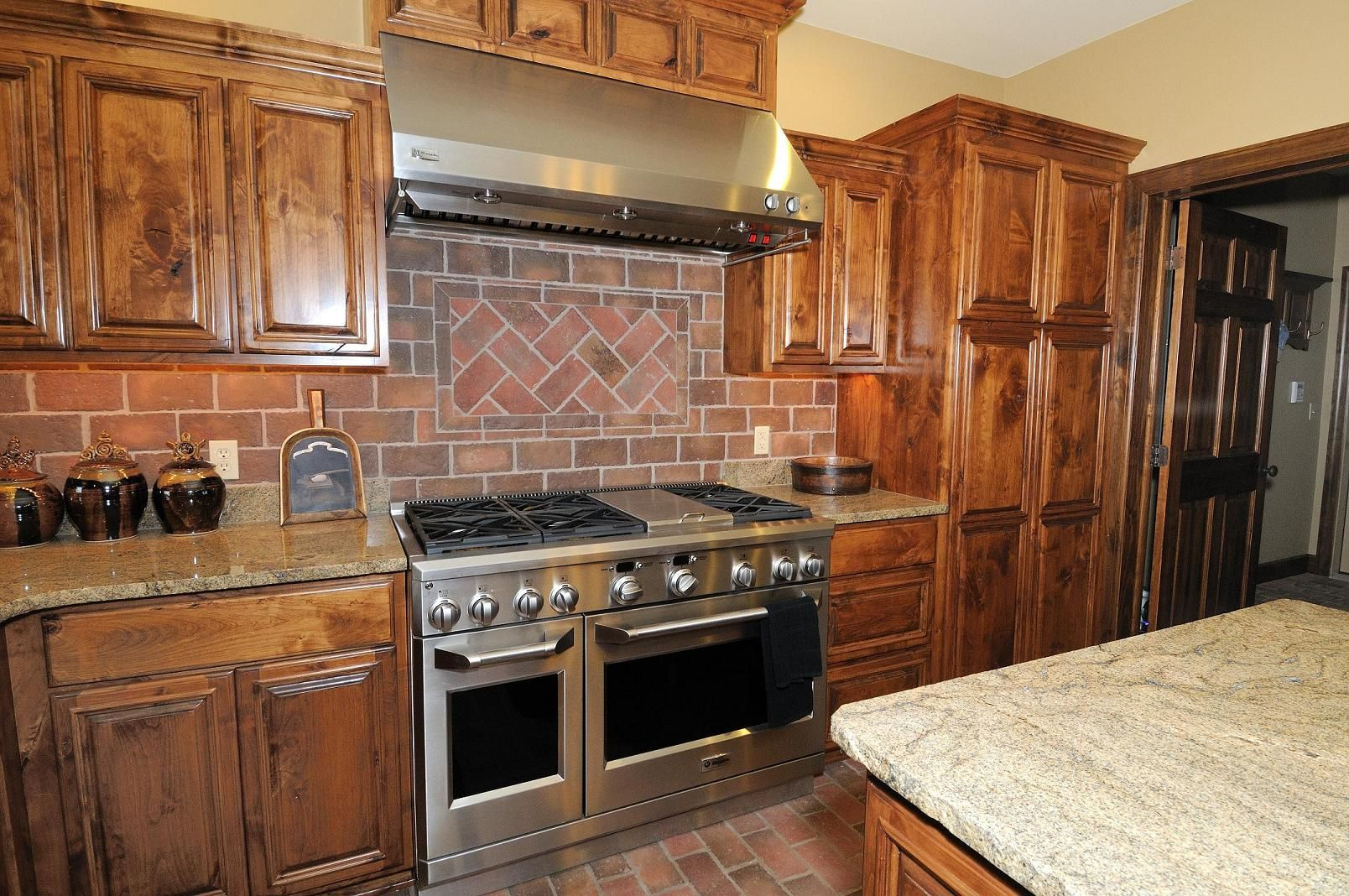 Kitchen Decorative Tiles Solid Wood Bkitchenb Bcabinetsb Bwith Brickb Subway