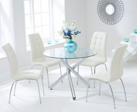 Buy The Orino 100cm Glass Dining Table With Calgary Chairs At Oak Furniture Superstore