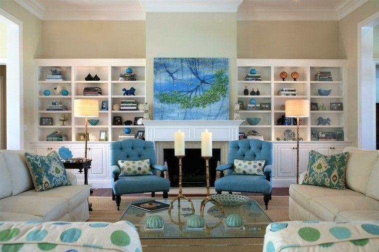sillones azules en el saln moderno