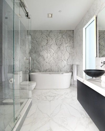 Calacatta Gold Floor With Mixed Up Mosaics Glass Mosaics In Shower Spectacular Splash Showroom Marble Bathroom Designs Artistic Tile Bathroom Design