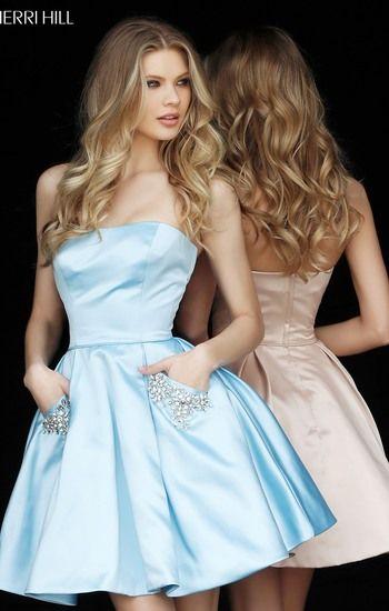 Sherri Hill 51390 Light Blue Beaded Pockets Strapless Satin Short A-Line Prom  Dresses 2017