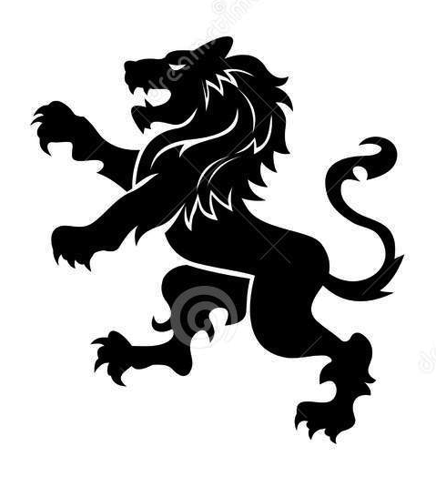 Lion standing. Stylized for coat of