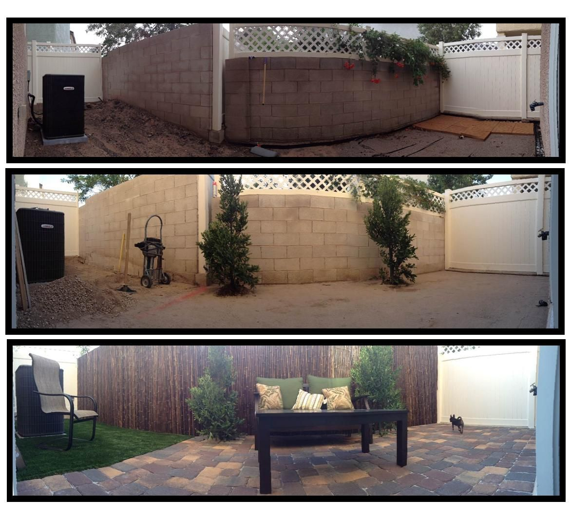 Our Back Yard Project Cinder Block Walls Bamboo Fence Outdoor