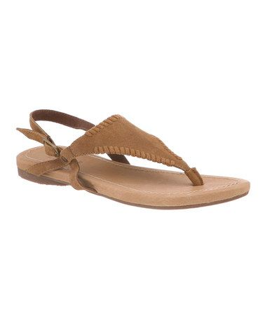Take a look at this Jute Tan Suede Anne Sandal - Women by BEARPAW on #zulily today!