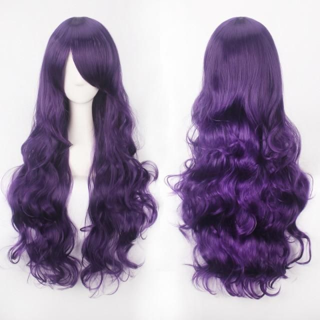 Photo of QP Pink Hair synthetic Wigs Air Volume High Temperature Soft Hair Silk Bulk Hair Long Curly Big Wave Hair Wig Cosplay – Purple