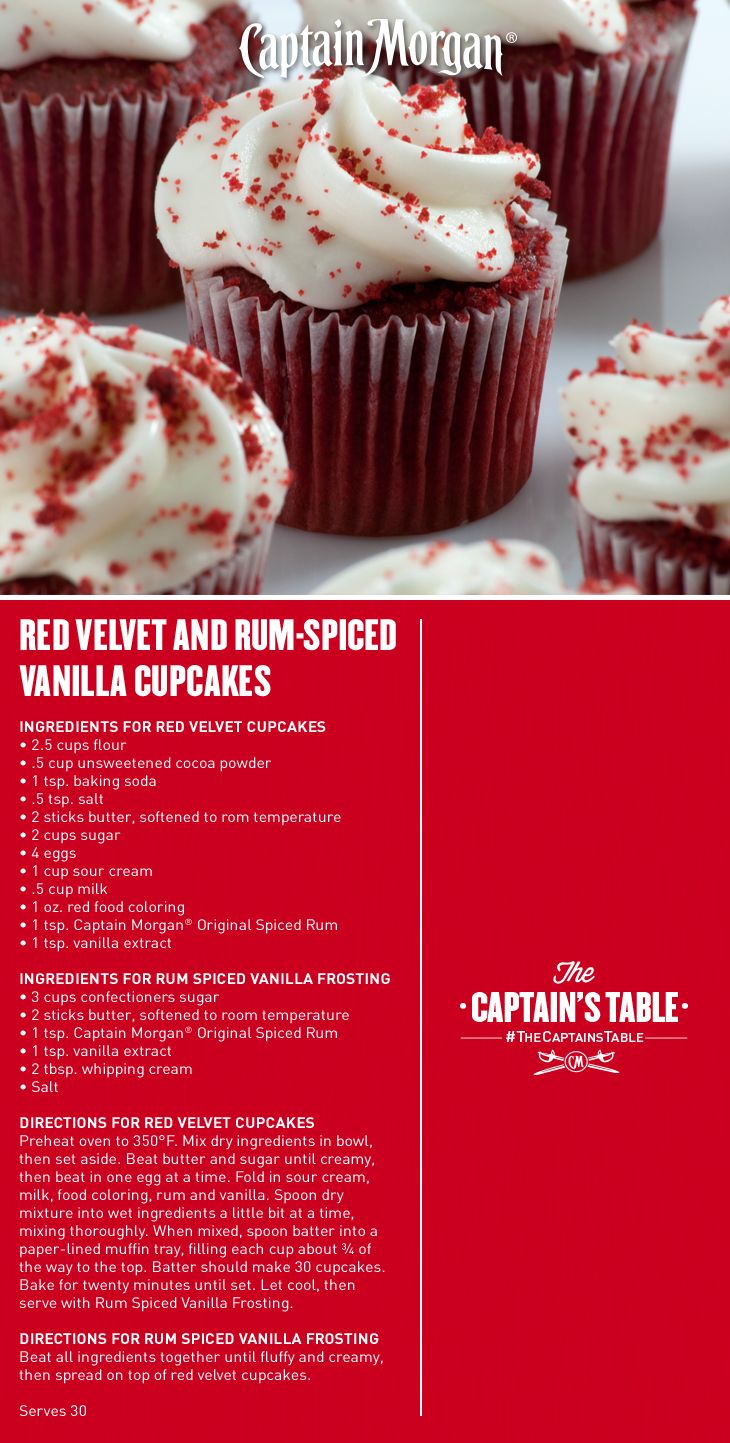 Red Velvet And Rum Spiced Vanilla Cupcakes A Dazzling Treat To Feature At Your Red Carpet Party Captai Vanilla Recipes Boozy Baking Alcohol Cupcakes Recipes