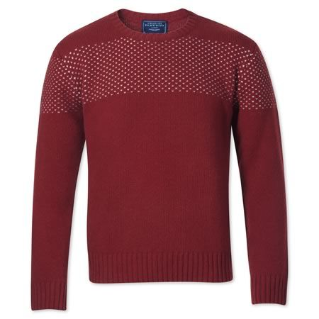 Red chest patterned jumper | Men's knitwear from Charles Tyrwhitt | CTShirts.com