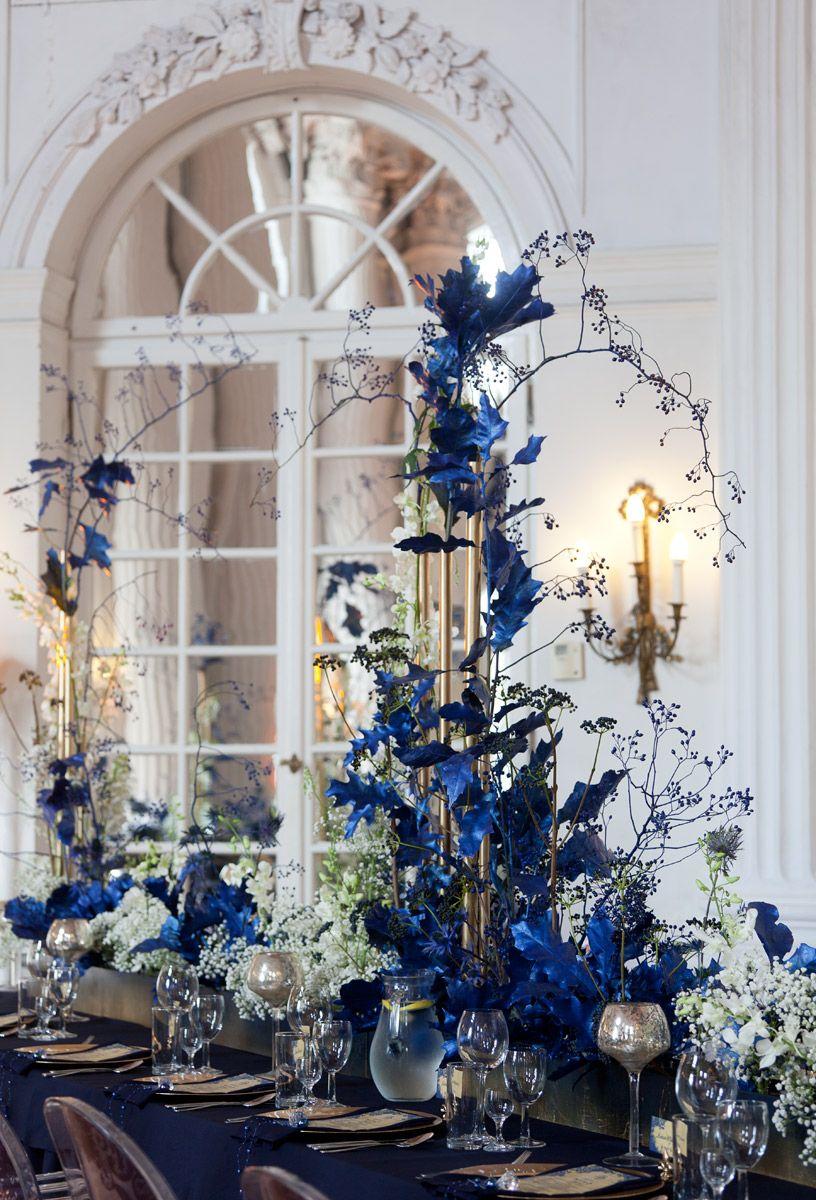 Blue themed wedding decor  Navy Blue Wedding Reception in Rydzyna Castle Poland by artsize