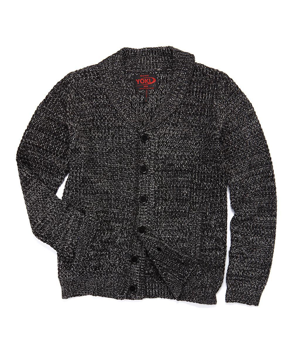 Yoki Heather Black Shawl Neck Cardigan  sweater  06665826f