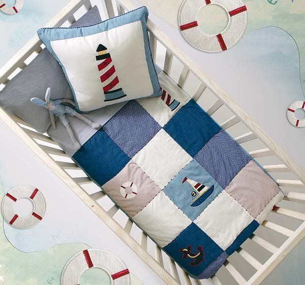 Telas y papeles pintados baby love ropa de cama para for Decoracion habitacion bebe marinero