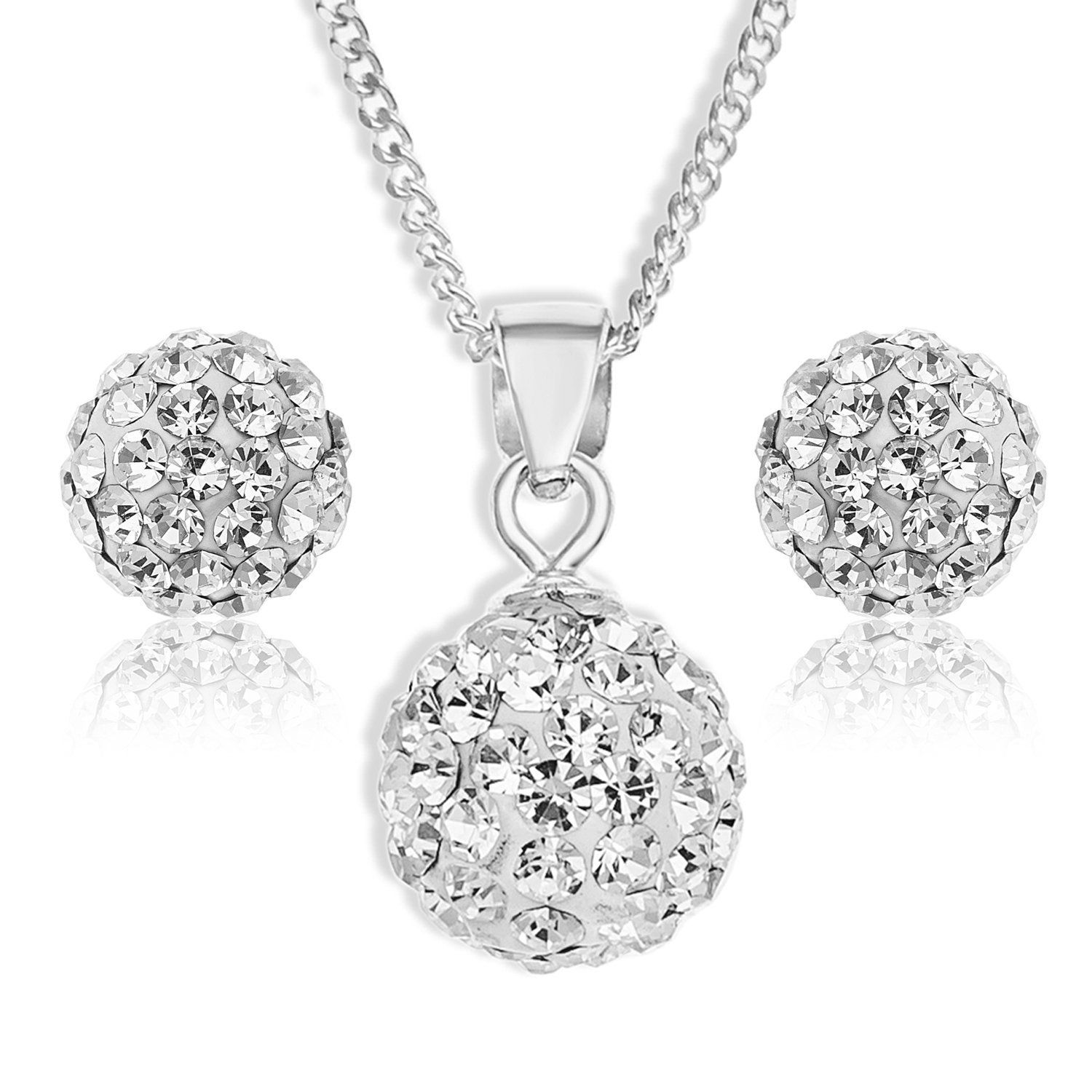 Ornami jewellery set with sterling silver crystal ball pendant