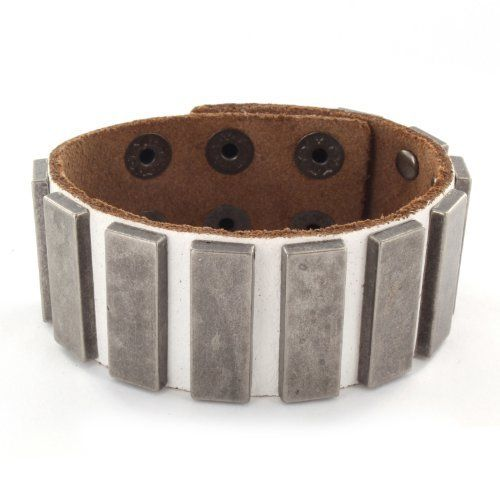White Leather Bracelet with Multi Rectangle Bloxx Studs West Coast Jewelry. $20.95