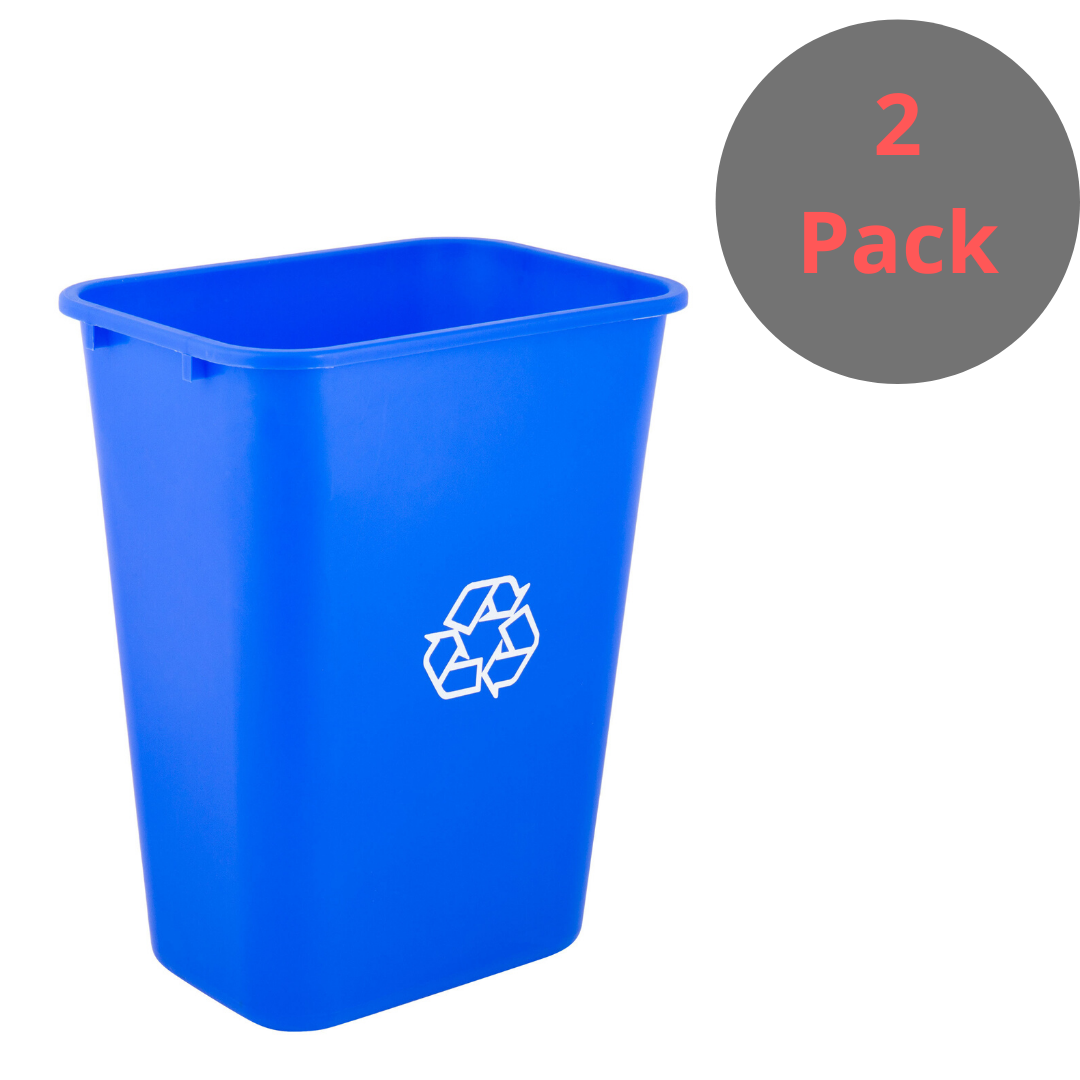 2 Pck 10 Gallon Heavy Duty Rectangular Plastic Recycle Bin Wastebasket Trash Can Waste Basket Trash Can Recycling Bins
