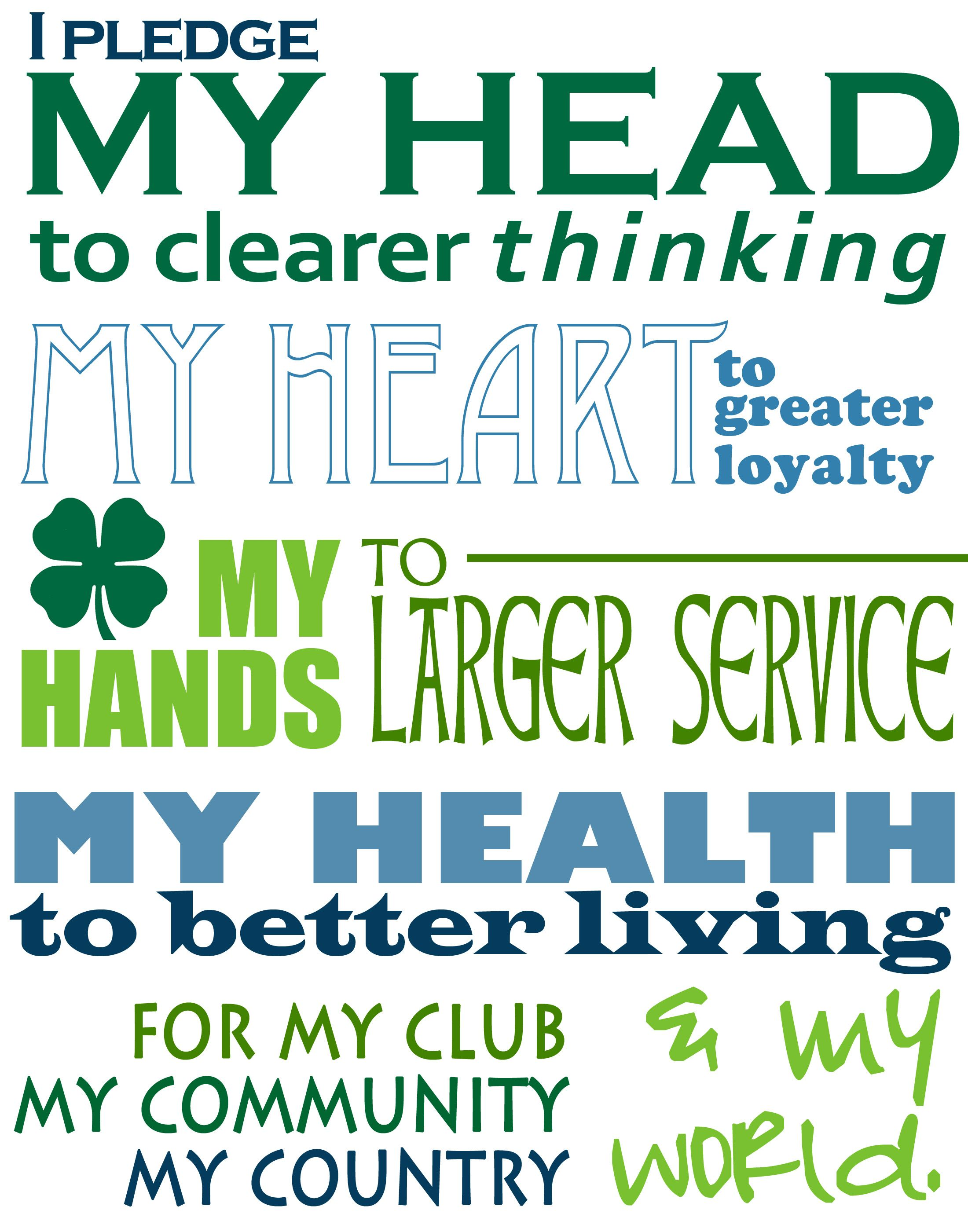 photograph about 4-h Pledge Printable known as 4-H incorporates specified Numerous lifestyle courses, produced younger peoples