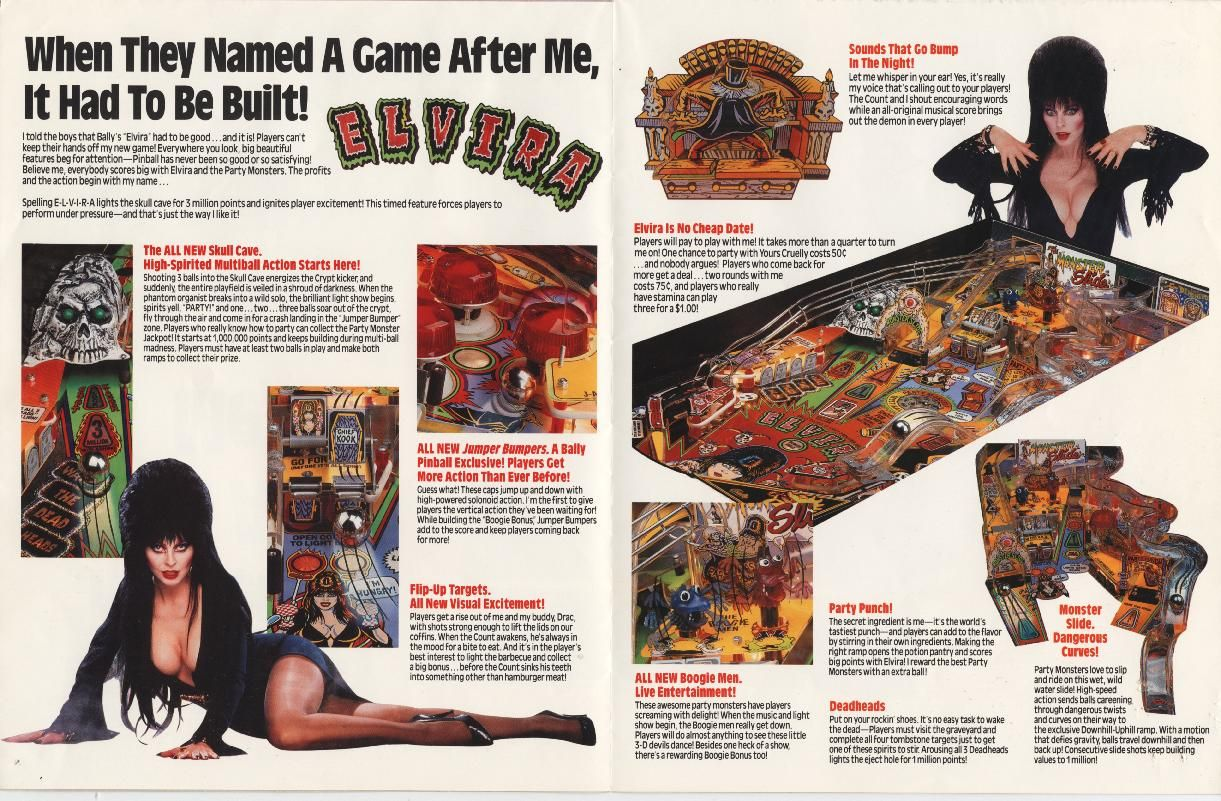 Brochure for the Elvira and the Party Monsters Pinball Game