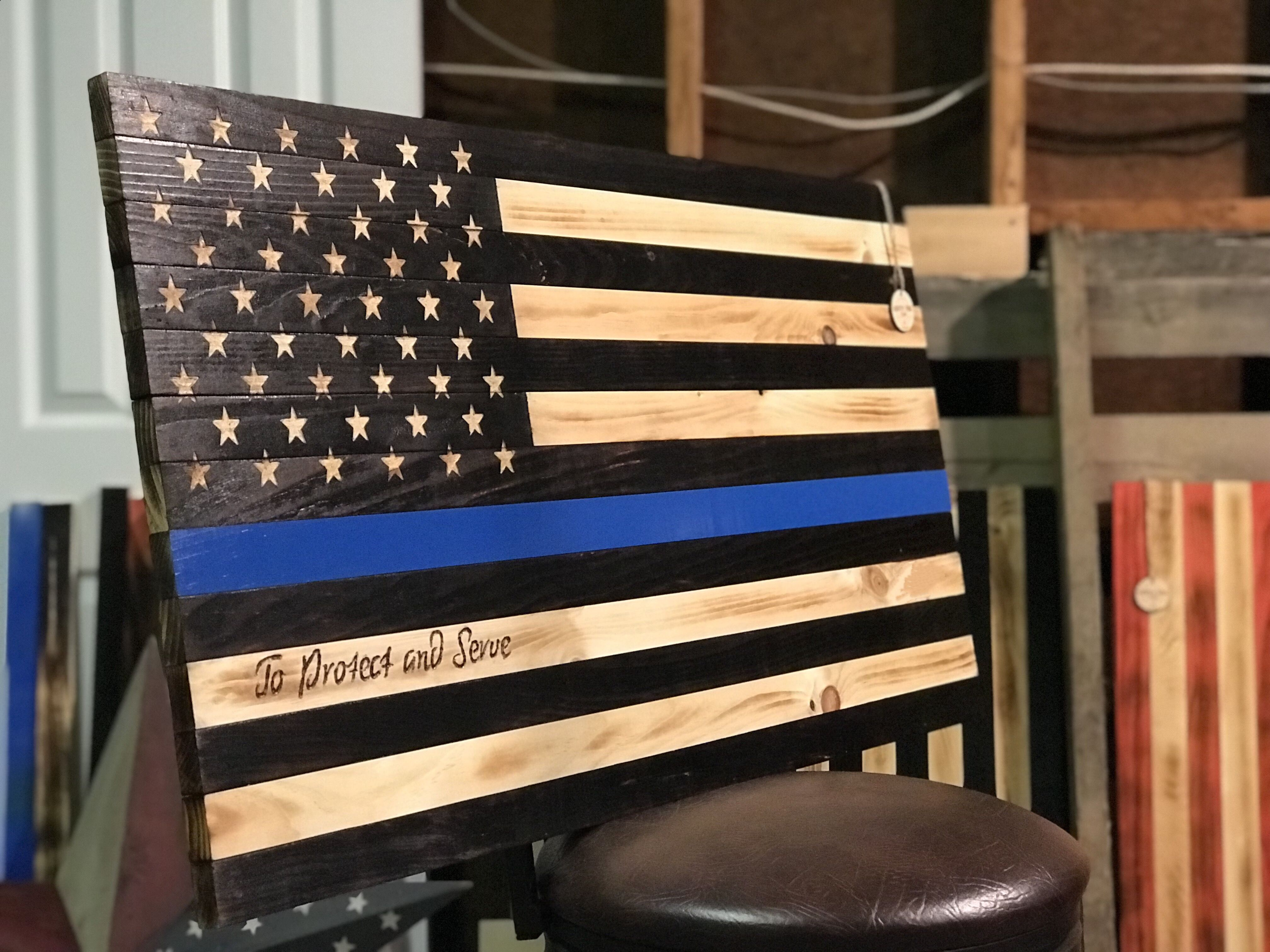 Thin Blue Line American Flag Burnt Wood Personalized Wooden Art Sign