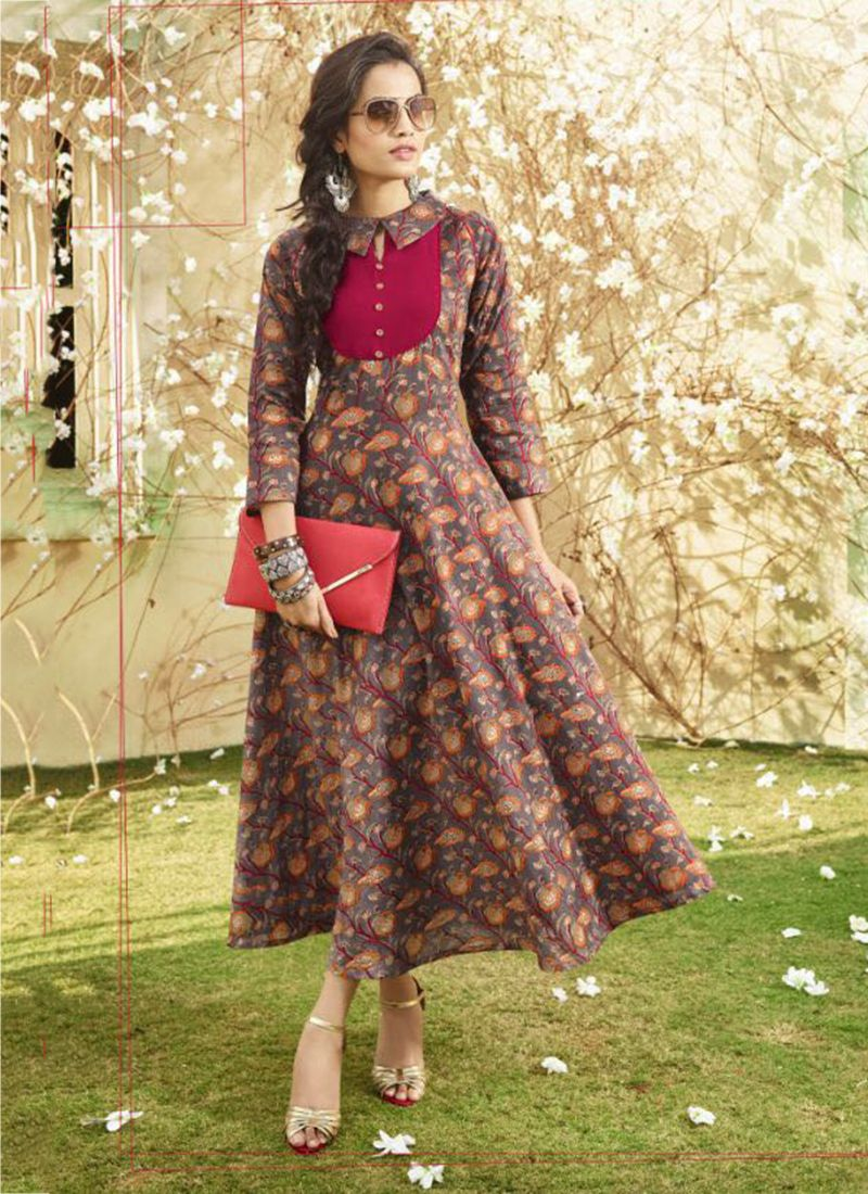 4963e06b6f0238 Discover ideas about Anarkali Kurti Cotton. Designer lawn cotton printed ...