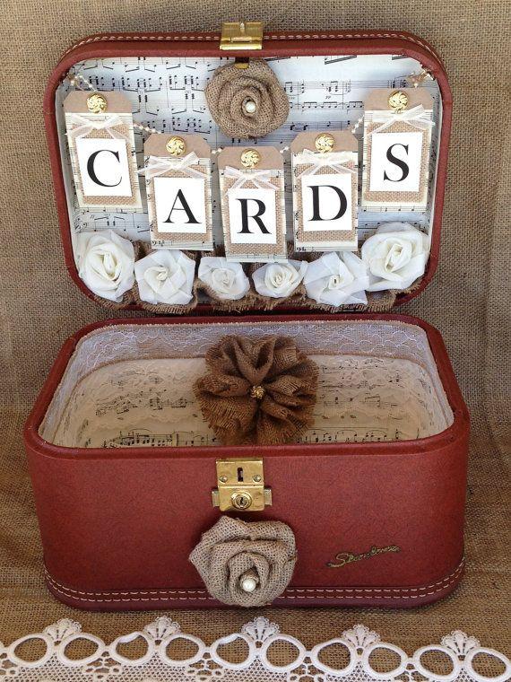 sale vintage suitcase wedding card holder shabby chic