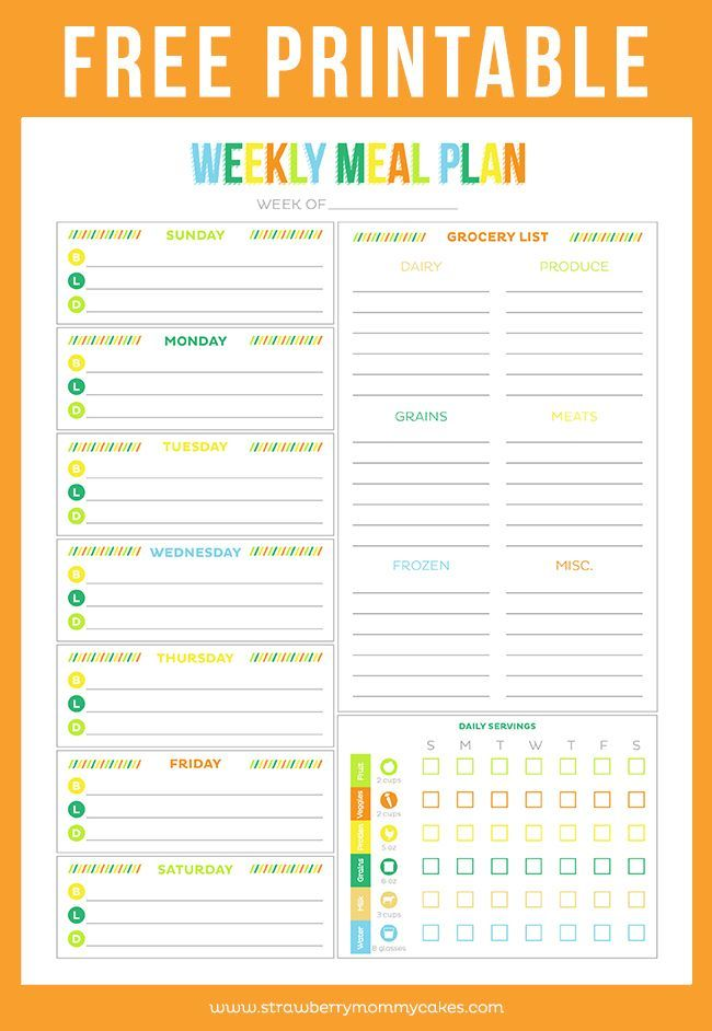 FREE Printable Weekly Meal Planner Pinterest Weekly meal plans - daily menu planner template
