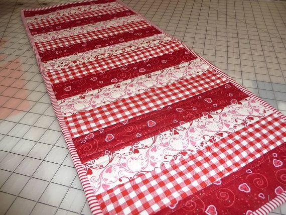 Quilted Table Runner   Red And White Table Runner   Red Gingham Table Runner    Valentineu0027s Day Table Runner   Dresser Scarf   Table Cover