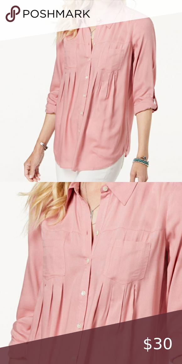 Style & Co Light Pink Roll-Tab Shirt