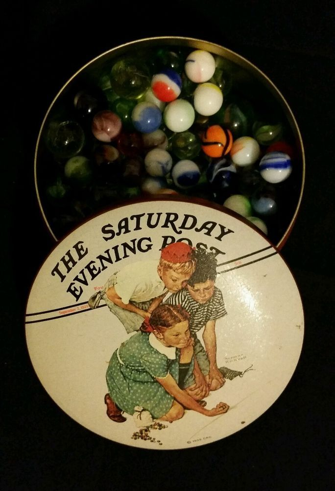 Norman Rockwell Saturday Evening Post Collector Series 1 Illus Tin with marbles