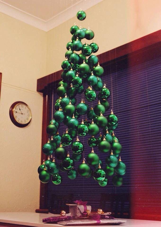 Christmas Tree Made With Hanging Green Balls Creative Christmas Trees Creative Christmas Alternative Christmas