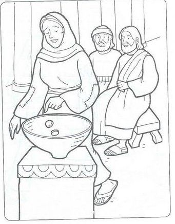The Widow's Offering coloring page | Widows mite, Coloring pages, Bible coloring  pages | 436x341