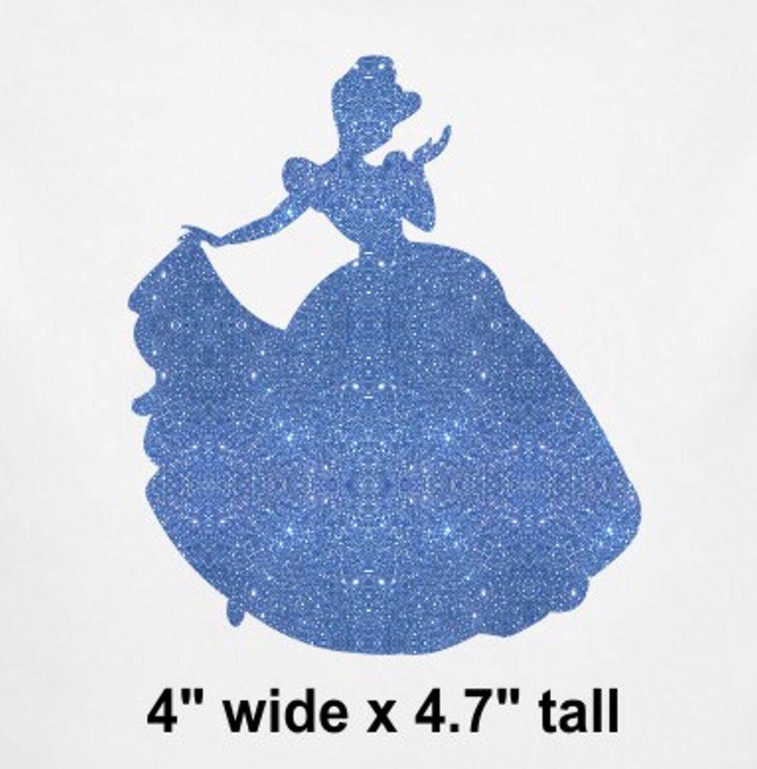 """6/"""" Cinderella rhinestone IRON ON TRANSFER Disney applique DIY decal patch"""