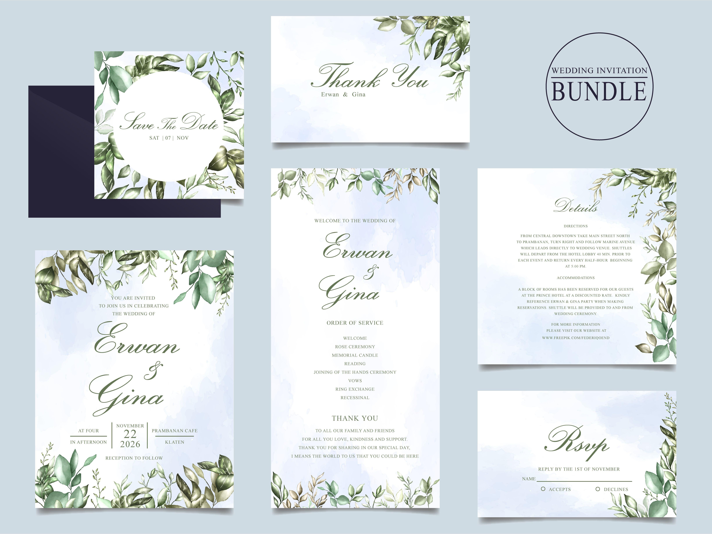 Wedding Invitation Card Bundle With Green Leaves Template Wedding Invitation Cards Leaf Invitations Wedding Invitations