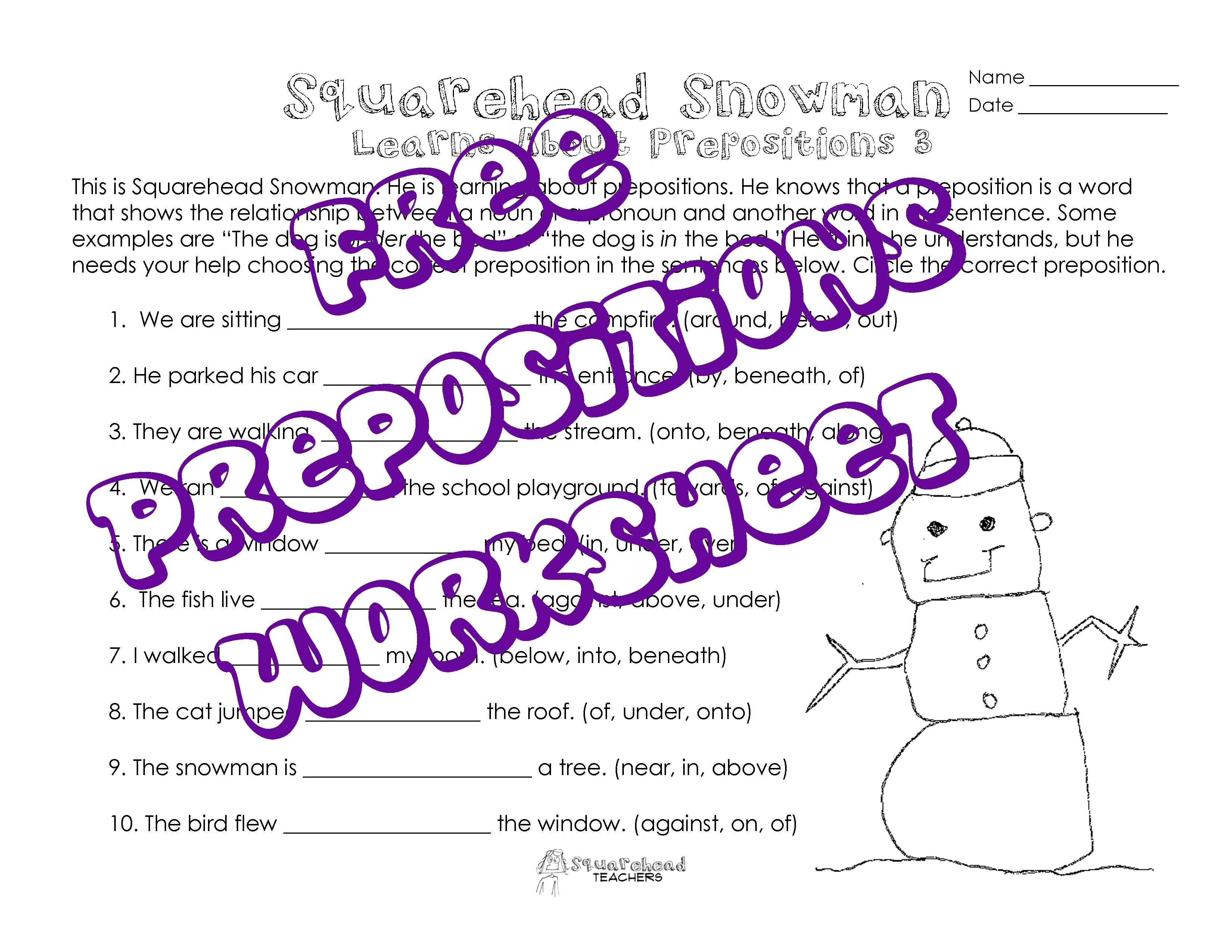 Worksheets Prepositional Phrase Worksheet 5th Grade squarehead teachers free printable worksheet snowman preposition practice