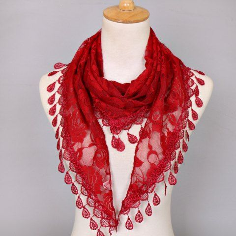 15052a6009763 WINE RED Waterdrop Embroidery Tassel Pendant Lace Triangle Rose Scarf Cheap  Scarves, Wrap Clothing,