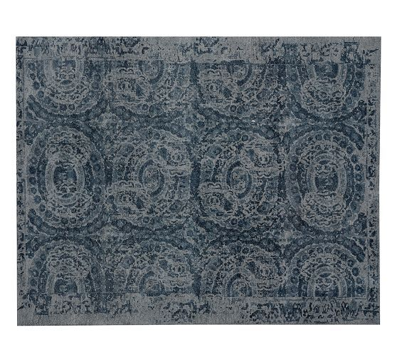 Bosworth Printed Wool Rug Blue Pottery Barn Contemporary Area Rugs Contemporary Rugs