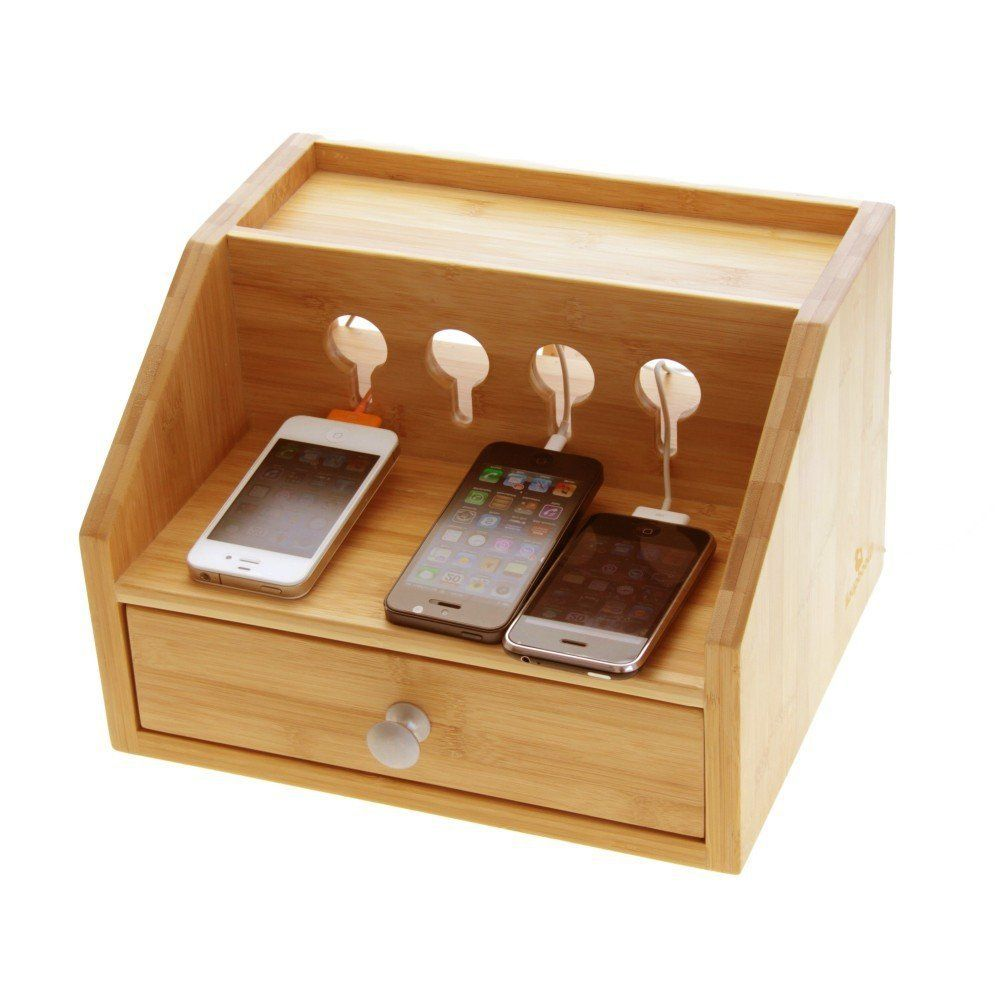 Gadgets Desktop Organiser Cable Tidy With A Drawer Holes For Charging Phones Players Cameras Bamboo Station Mobile Charge Phone
