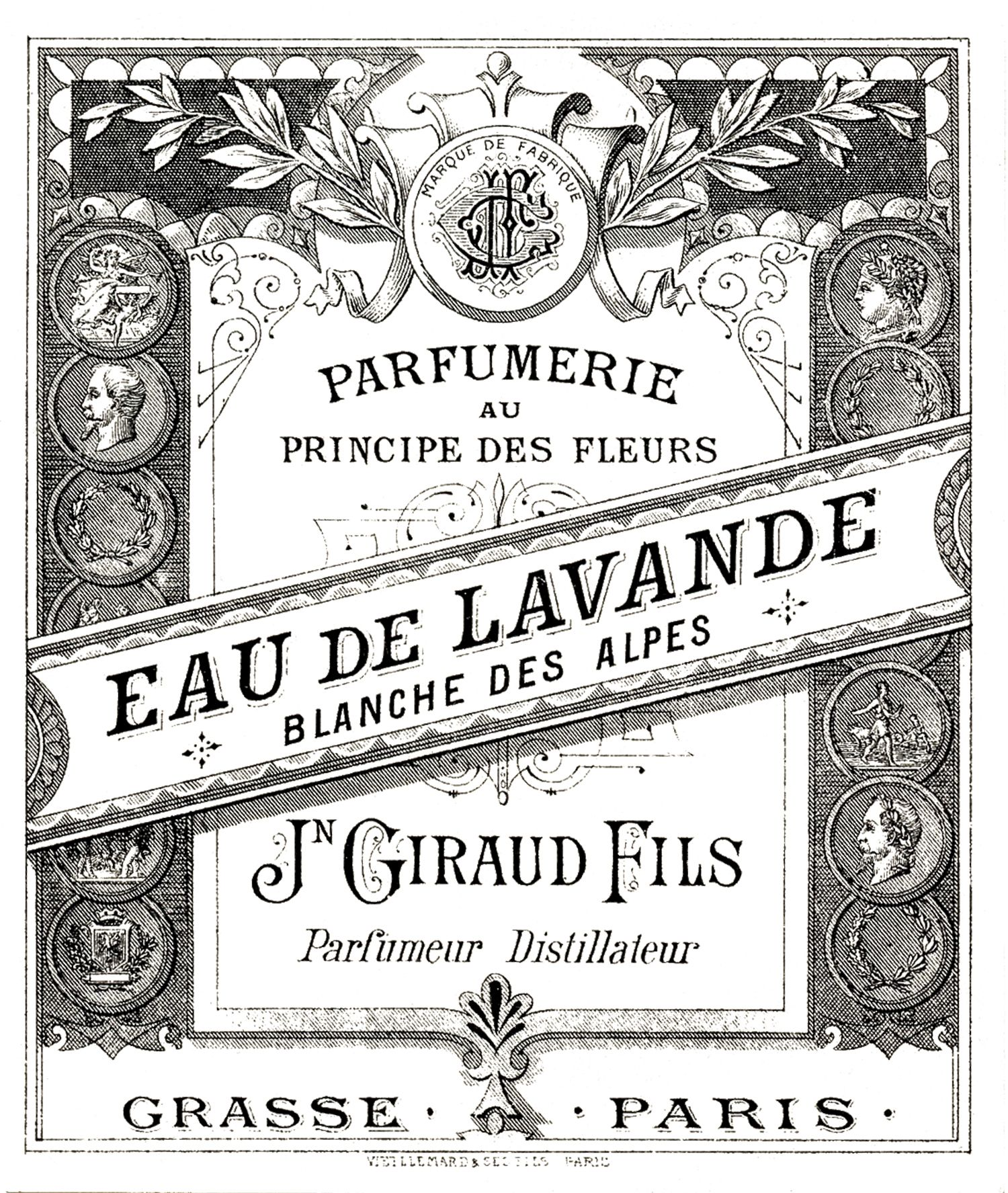 Antique Perfume Label Image Graphics fairy and Graphics