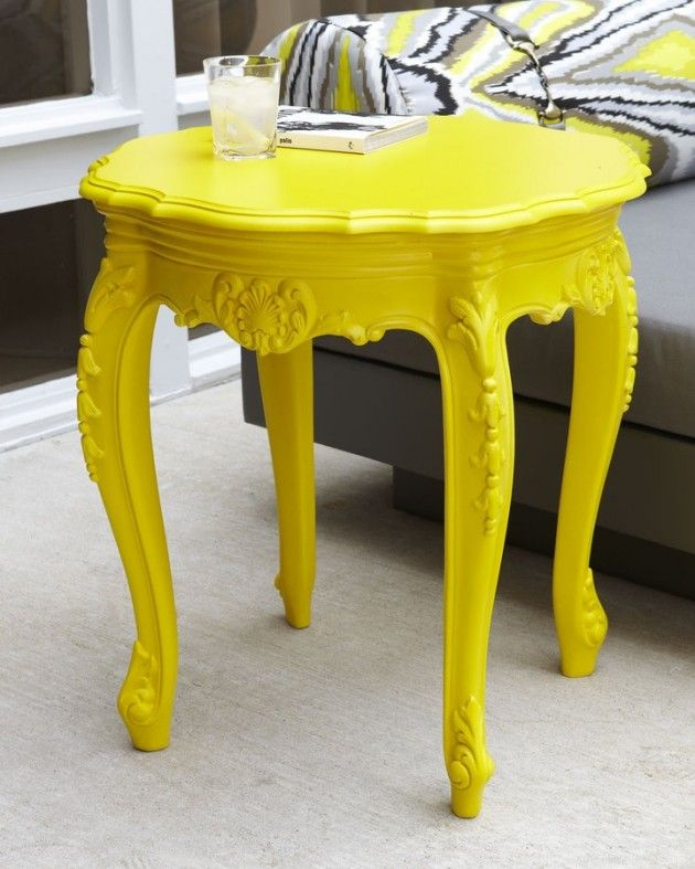 Almost Neon Yellow Painted Table: I Love The Idea Of Taking One Piece Of  Furniture, And Painting It All One Bright Color As A Statement.