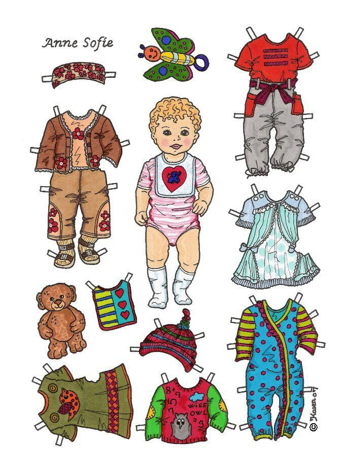 Karen`s Paper Dolls: Anne Sofie 1-2 Baby Paper Doll in Colours. Anne Sofie 1-2 baby påklædningsdukke i farver.