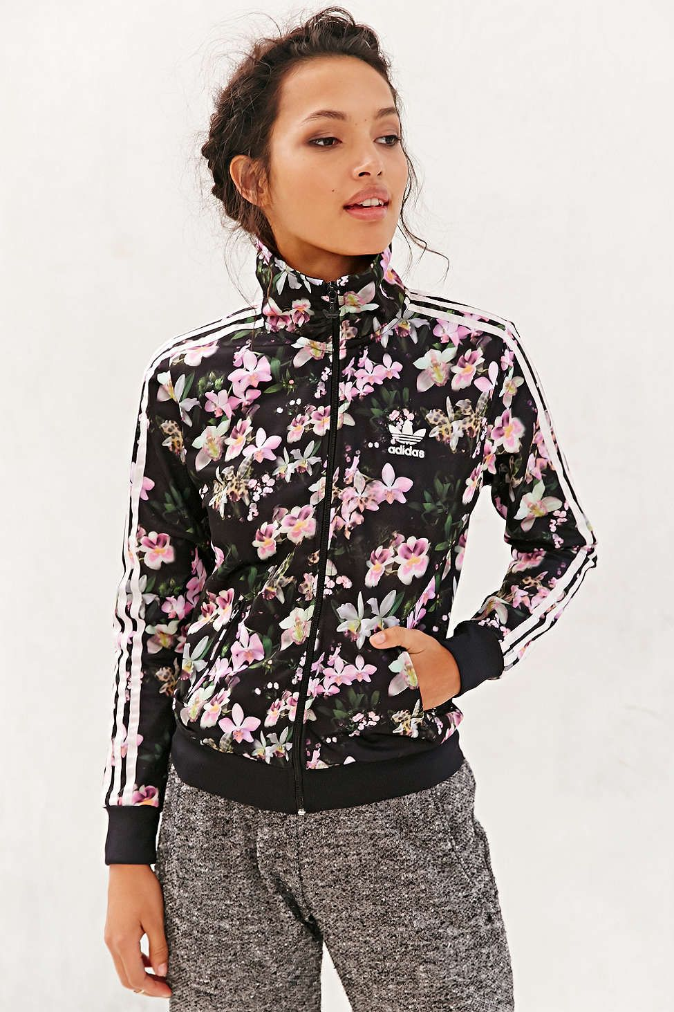 Adidas orchid track jacket urban outfitters outerwear for Adidas floral shirt urban outfitters