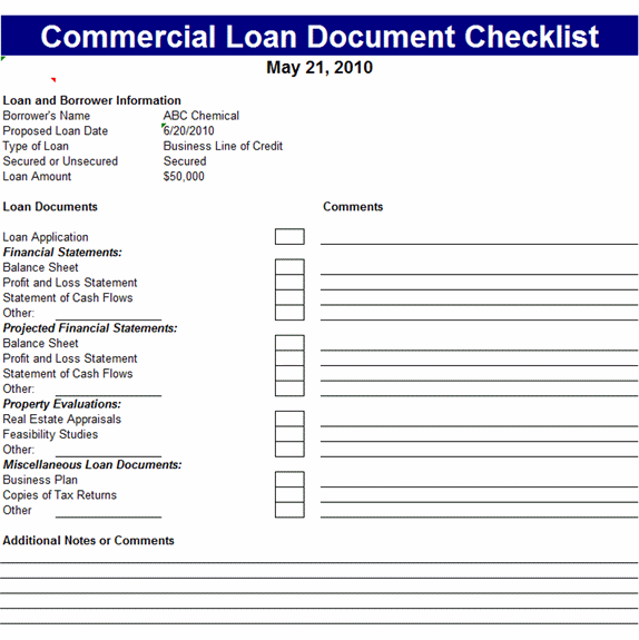 Commercial Loan Document Checklist Template  Office Templates