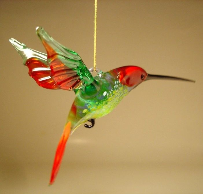 Red and Green Hummingbird Figurine Beautiful Blown Glass Blue