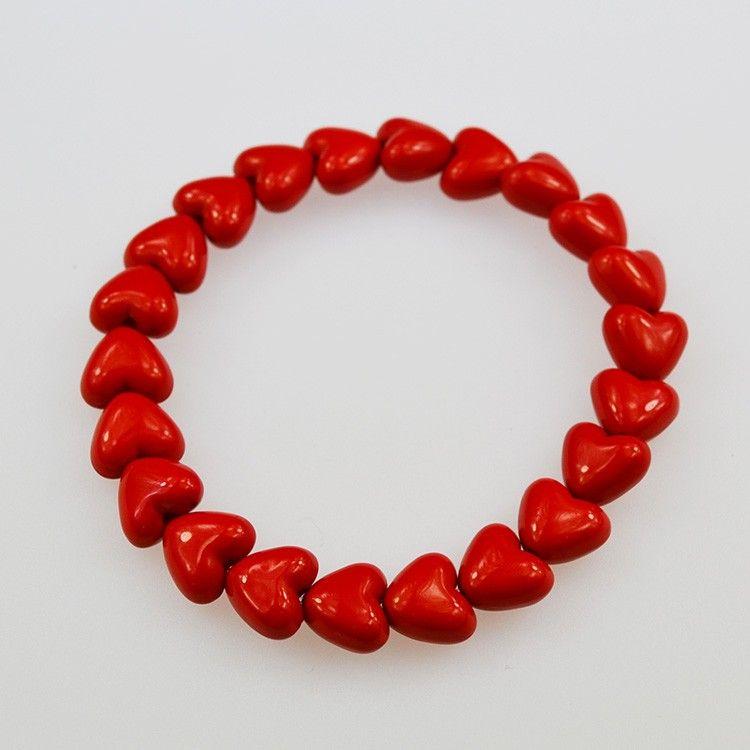 Beaded Bracelets Red | red-shiny-heart-bead-braceletbraceletsred-shiny-heart-bead-bracelet ...