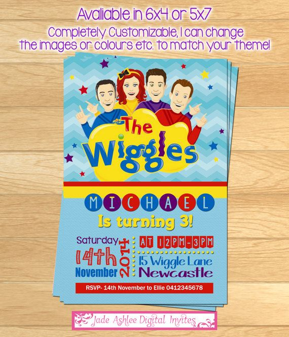 The Wiggles Birthday invitation Boys by JadeADigitalInvites 800