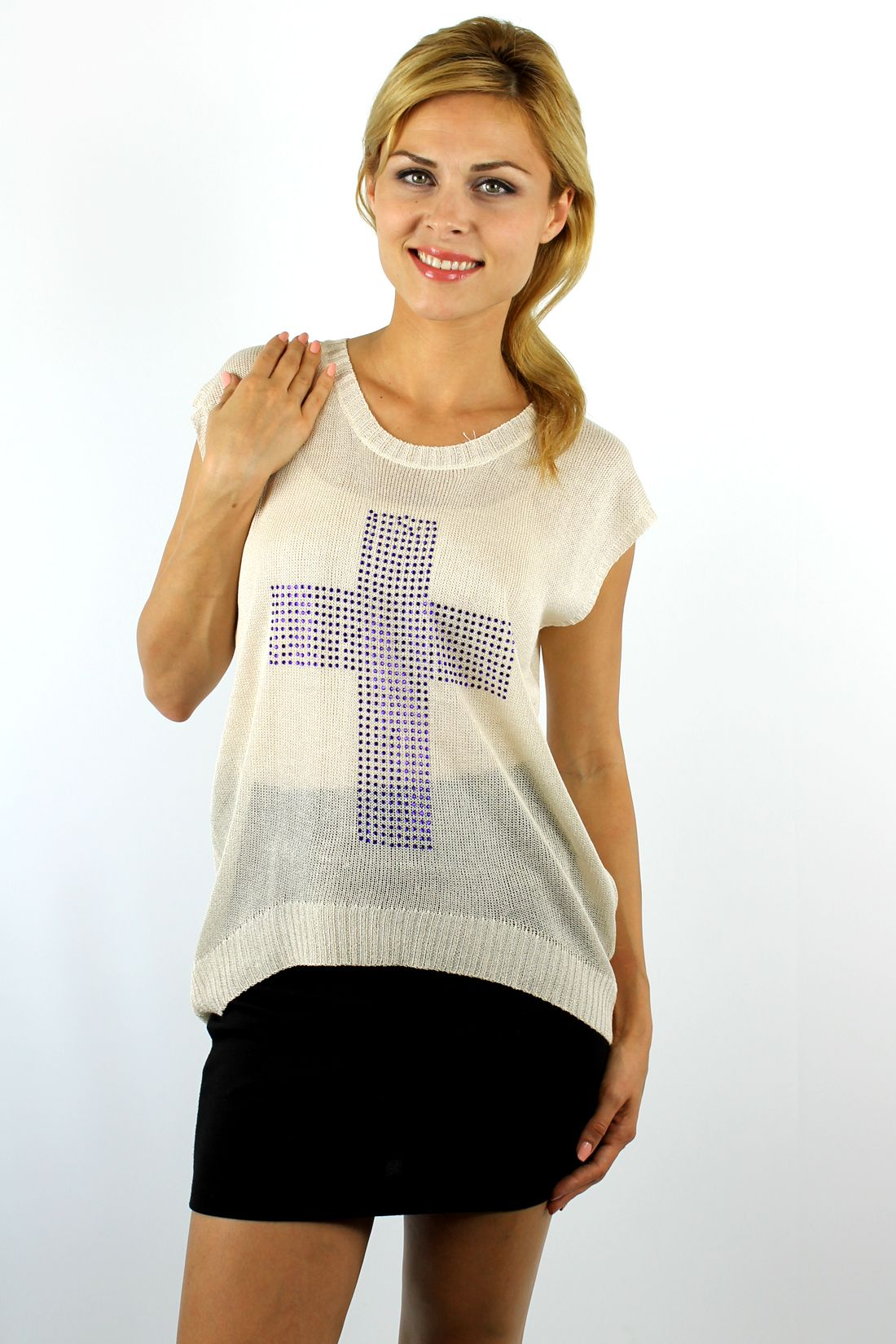 Enewwholesale sells ivory blue cross over sized knitted  top. Wholesale fashion women's tops online store with discount price