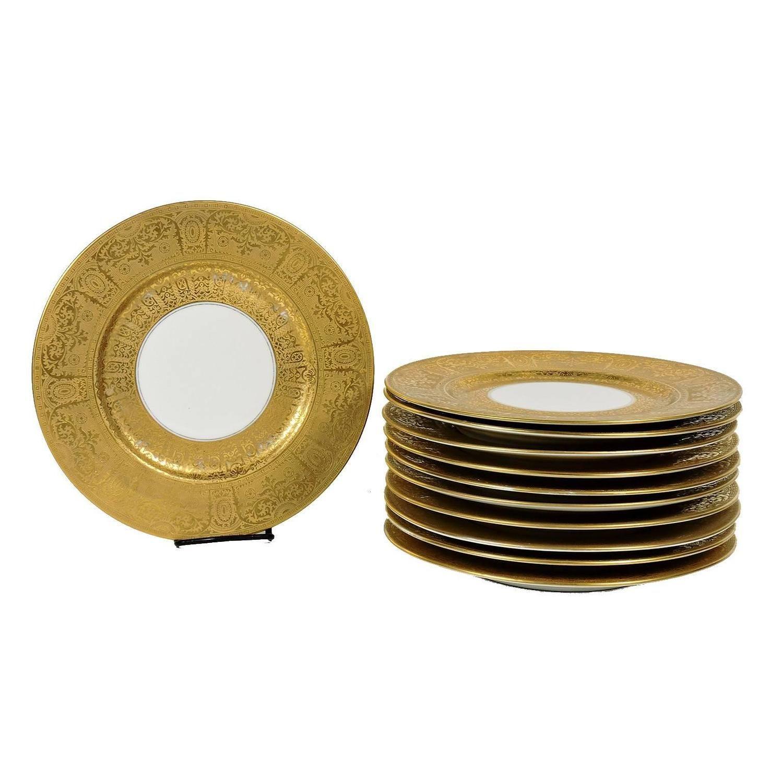 Selb Bavaria Gold Rimmed Dinner Plates  sc 1 st  Pinterest & Set of Eleven Heinrich \u0026 Co. Selb Bavaria Gold Rimmed Dinner ...
